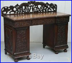 Lovely Anglo Burmese 19th Century Hand Carved Sideboard With Drawers & Cupboards