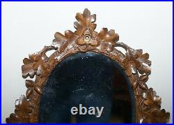 Lovely Antique Black Forest Hand Carved Wood Wall Mirror Ornately Carved Frame