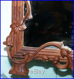 Lovely Hand Carved Fruit And Foliage Hard Wood Framed Bevelled Edge Wall Mirror
