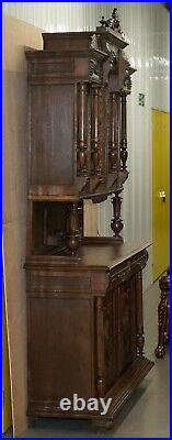 Lovely Hand Carved Solid Oak Dutch Cupboard Ornate Detailing Chest Of Drawers