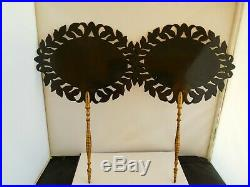 Lovely Pair Of Victorian Hand Painted Hand Held Fire Screens