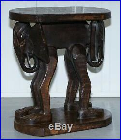 Lovely Pair Of Vintage Hand Carved Solid Wood Safari Tables Depicting Elephants