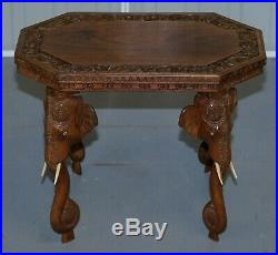 Lovely Small Circa 1920 Anglo Indian Elephant Hand Carved Rosewood Side Table