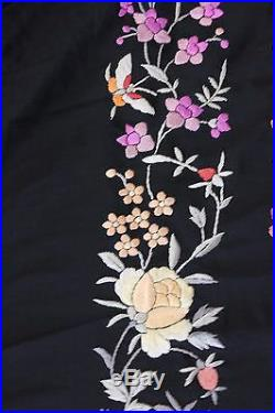 Lovely c1900 Hand Embroidered Victorian Chinese Piano ShawlFlorals&Butterflies