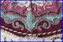 Luscious French Victorian c1860-70 Hand Beaded Rose Blue & Maroon Mat21X11