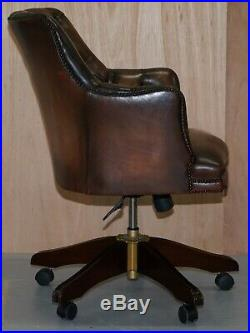 Luxury Hand Dyed Vintage Brown Leather Office Desk Captains Directors Chair