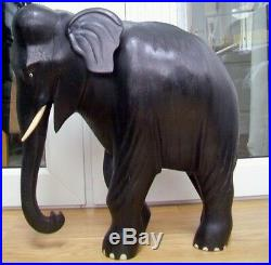 MAGNIFICENT17.3kgs ANTIQUE VICTORIAN EBONY HAND CARVED WOODEN ELEPHANT