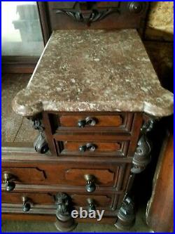 MAGNIFICENT! CIRCA 1870s ORNATE, HAND-CARVED MARBLE TOP BEDROOM SET