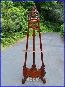 MBW 7' Hand-Carved Mahogany Floor Display Art Easel withVictorian Acanthus Motif