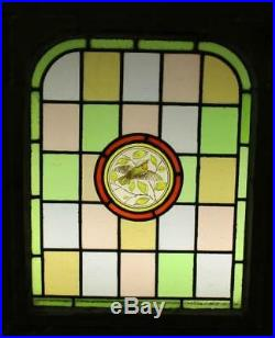 MIDSIZE OLD ENGLISH LEAD STAINED GLASS Victorian Hand Painted Arch 22 x 26.25