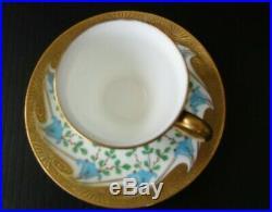 MINTONS Antique 1800's England Hand Painted Gold Demitasse Teacup & Saucer Set