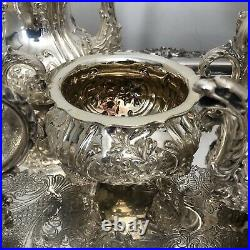 Magnificent, Antique Victorian, Sterling Silver Hand Chased Tea & Coffee Set