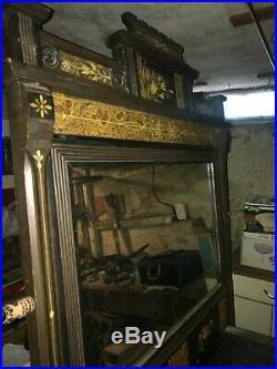 Magnificent dresser mirror hand painted victorian bureau