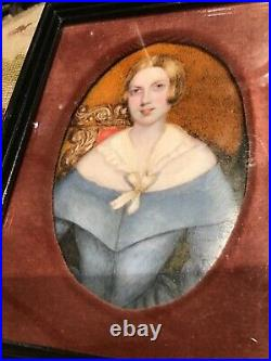 Mid 19th Century Hand Painted Portrait Miniature of A LADY