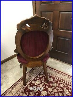 Mid Victorian American Walnut and Velvet Balloon Back Parlor Chair Hand Carved
