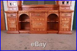 Monumental 19th Century Victorian Hand-Carved Cherry Wood Bar Back or Sideboard