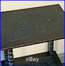 Naive Victorian Ebonized Hand Carved Bobbin Leg Small Side Table