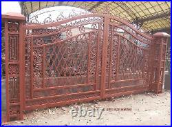 Nice Cast Iron Victorian Style 17' Hand Made Driveway Gates Gate#14