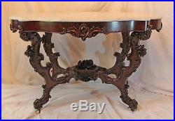OUTSTANDING 1850's HAND CARVED Rococo Rosewood Victorian Center or Library Table