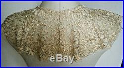 Old Victorian 19C Bertha Collar Silk Maltese Bobbin Lace divine hand made
