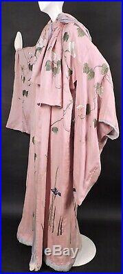 Opulent Hand Embroidered Antique 19th C Pink Silk Kimono W Florals Butterflies