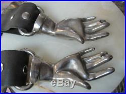Orig VINTAGE 1970s Glam Rock CLASPED Cast Metal HANDS Victorian Revival BELT