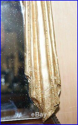 Ornately Hand Carved Antique Giltwood Over Mantle Mirror Restored Lovely Find