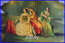 PAIR Antique Victorian Hand Painted Oil Painting, Papier Mache Face Screen 1850