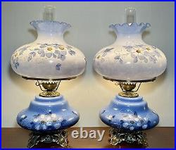 PAIR LARGE Victorian Hand Painted Gone With The Wind 3-Way Parlor Lamps MINT 26