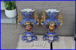 PAIR antique French vieux paris porcelain hand paint romantic victorian scene