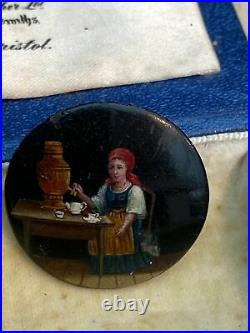 PR ANTIQUE 19c RUSSIAN BACHELOR BUTTONS HAND PAINTED ON COPPER