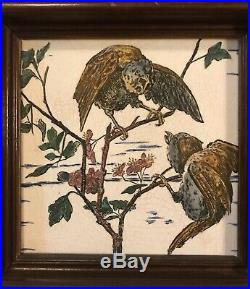 Pair Antique (19C) Brown-Westhead Moore Tiles-Hand Painted/Framed-Rare