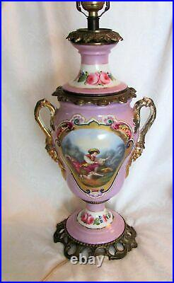 Pair Antique French Porcelain Lamps Hand Painted Circa 1920
