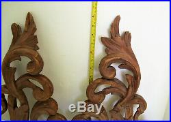 Pair Antique Hand Carved Architectural Carvings 18 Inches Tall Circa 1880s