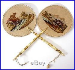 Pair Antique Victorian Hand Embroidered Face Screens, Fan Petitpoint & Beadwork