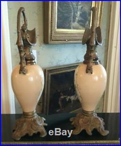 Pair Antique Victorian Hand Painted Portrait Art Glass Ornate Metal Mantel Ewers