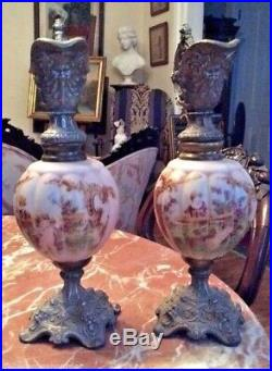 Pair Of Antique Victorian Hand Painted Art Glass & Ornate Metal Mantle Ewers
