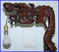Pair Of Chinese Dragon 1920's Hand Carved Wood Floor Standing Lamps Part Of Set