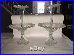 Pair Of Glass Epergne Hand Blown Flower Vases Ca. 1880s Victorian Ruffled Rim