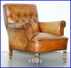Pair Of Lovely Chesterfield Victorian Library Armchairs Hand Dyed Brown Leather