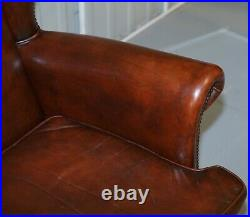 Pair Of Lovely Hand Dyed Brown Leather Laid Back Wingback Armchairs Rare Frames