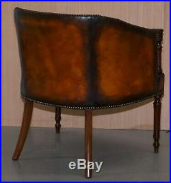 Pair Of Lovely Vintage Chesterfield Library Armchairs Hand Dyed Brown Leather