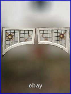 Pair Of Reclaimed Stained Glass Hand painted Arch Door Fanlight Window