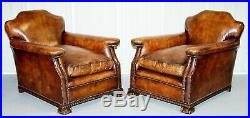 Pair Of Restored Hand Dyed Victorian Claw & Ball Cigar Brown Leather Armchairs