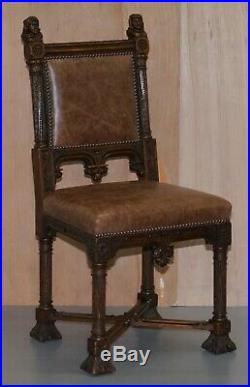 Pair Of Restored Victorian French Brown Leather Hand Carved Armchairs Gothic