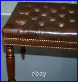 Pair Of Restored Vintage Chesterfield Brown Leather Hand Dyed Stool Benches