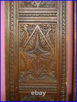 Pair Original Antique Victorian Hand Carved Oak Wooden Cabinet Triple Panels