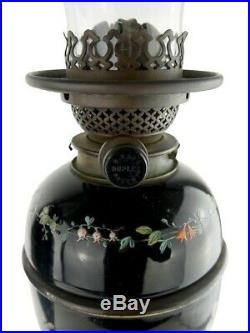 Pair of Hinks Duplex Oil Lamps Magnificently Hand Painted Black Ceramic Base