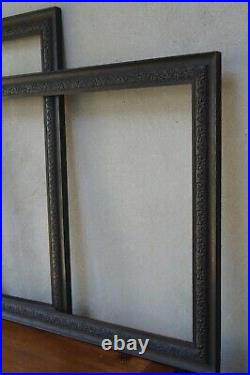 Pair of Large Antique Hand Carved Oak Frames -19th Century (Aperture 27 x 22)