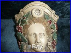Pair of Victorian Plaster Lady's Head Corbels Hand Coloured and Glazed